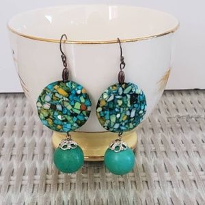 Conglomerate stone, Turquoise earrings